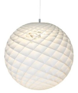 Patera – Louis Poulsen  The pendant is a glowing sphere built up of small diamond-shaped cells. Each cell is carefully designed to capture light and to shield the light source from the viewing angles above 45 degrees.