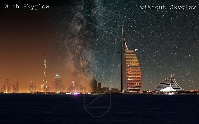 This is an image of night sky view of Dubai showing with and  without Light Pollution created in Photoshop for illustration propose only- thelightingblog.info