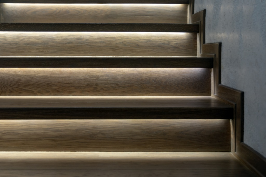 illuminated wooden staircase, the lighting blog,AKTO LED